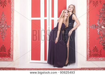 Two Gorgeous Girl In Vintage Room