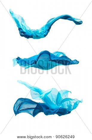 abstract pieces of fabric flying, isolated on white, design element