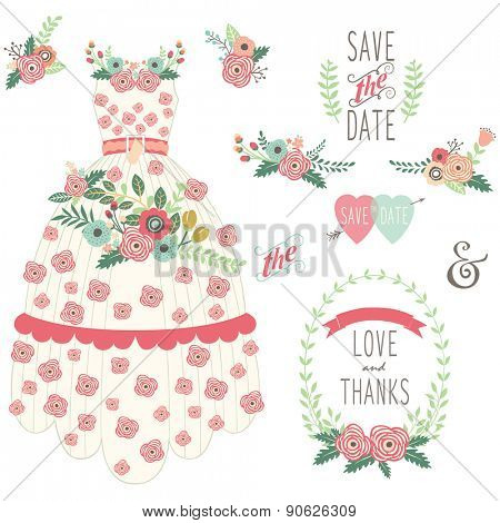 Bride Floral Wedding Dress Set