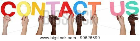 Multi Ethnic Group Of People Holding The Word Contact Us