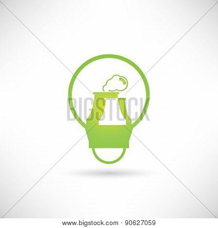 nuclear power plant inside green light bulb