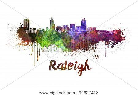 Raleigh Skyline In Watercolor