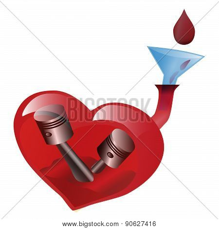 Art Poster. Heart Is Shown As The Life Engine. Or Appeal To Donate Blood.