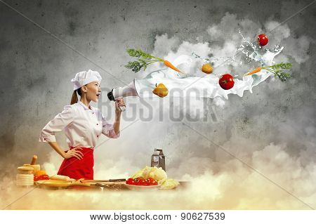 Displeased Chef Give Orders From Her Subordinates