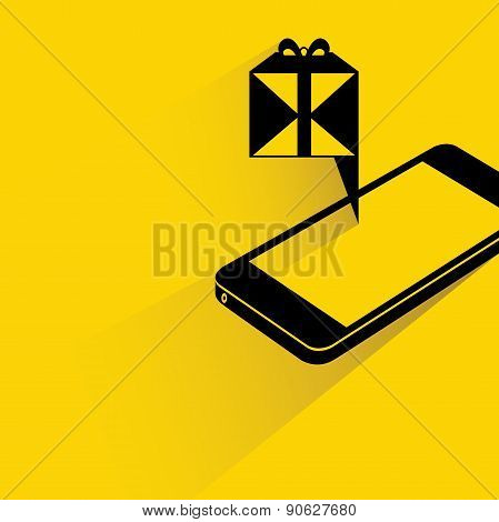 gift box on smart phone