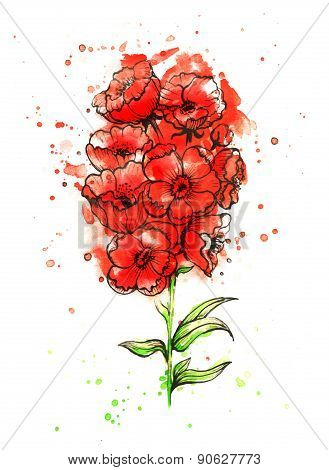 Red Flower. Poppy. Watercolor Floral Decoration. Floral Bouquet. Vector Floral Background.