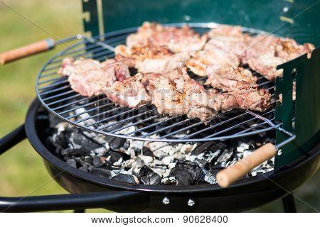 Pork Meat Chop Preparing On Barbecue Gril