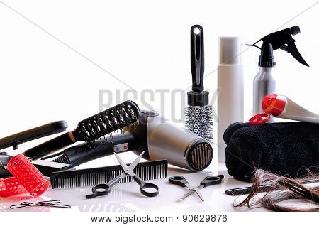 Composition Hairdressing Tools Isolated