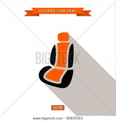Covers and car seats for the car, vector illustration flat