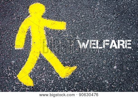 Yellow Pedestrian Figure Walking Towards Welfare