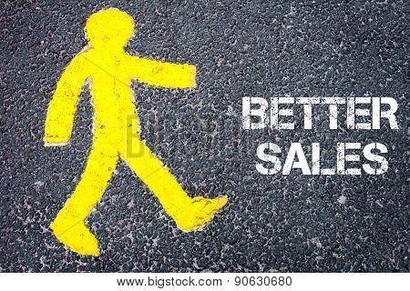 Yellow Pedestrian Figure Walking Towards Better Sales