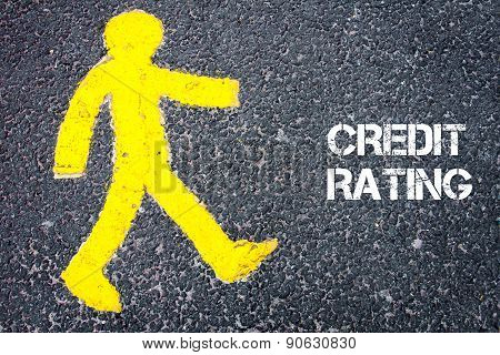 Yellow Pedestrian Figure Walking Towards Credit Rating