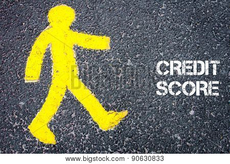 Yellow Pedestrian Figure Walking Towards Credit Score