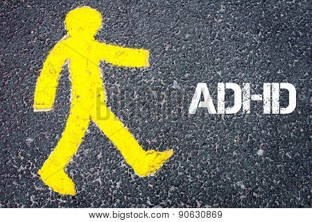 Yellow Pedestrian Figure Walking Towards Adhd