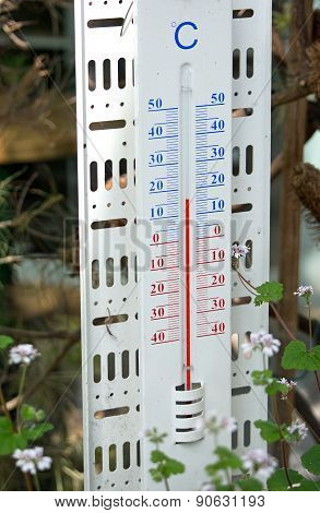 Thermometer showing 16 degrees Celsius
