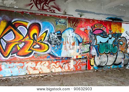 Graffiti Wall In An Abandoned Factory Building