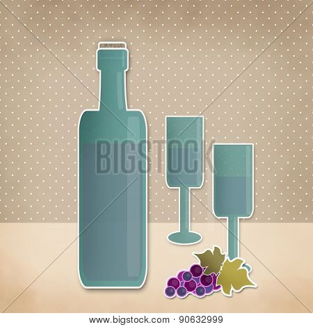 Bottle Of Wine, Wineglass And Grape Cartoon Retro Background