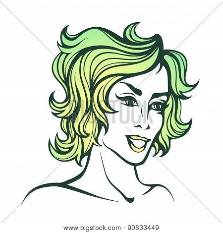 Vector Stylized Portrait Of Cartoon Pretty Fashion Girl With Short Curly Green Hair Isolated On Whit