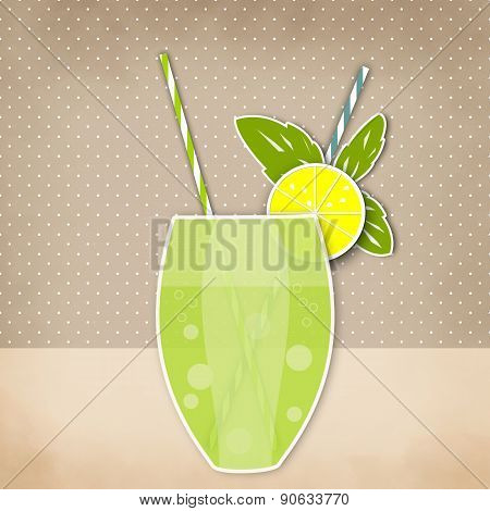 Cocktail Lemon Lime Background. Glass Of Drink With Tubule. Retro Illustration Of Lemonade