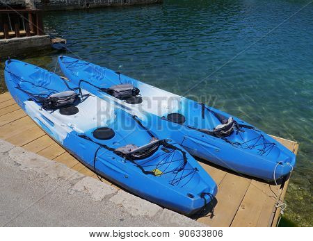 Blue recreation kayaks