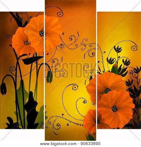 Floral Background With Flowers Of Poppy