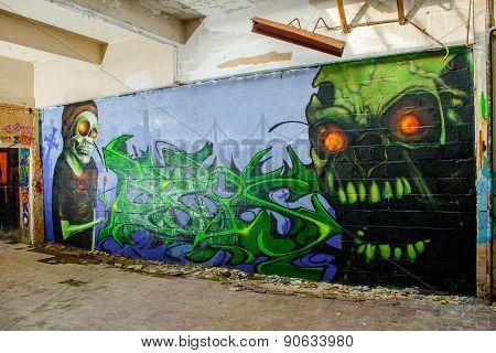 Skull Monster Graffiti In An Abandoned Factory Building