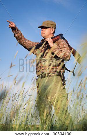 Hunter wild duck hunting