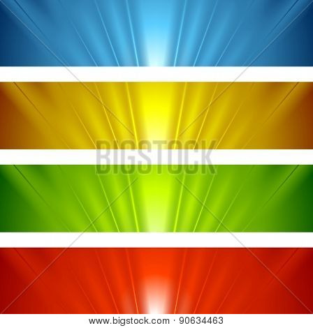 Abstract banners with bright glow beams. Vector background