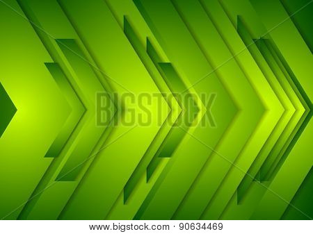 Abstract bright shiny tech background. Green vector arrows