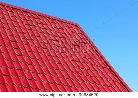 Red Roof Tiles Taken Closeup.
