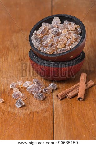 Caramelized Sugar In Wooden Bowl