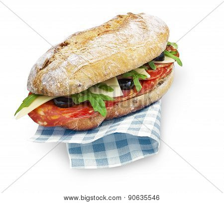 Chorizo Sandwich With Clipping Path Isolated On White