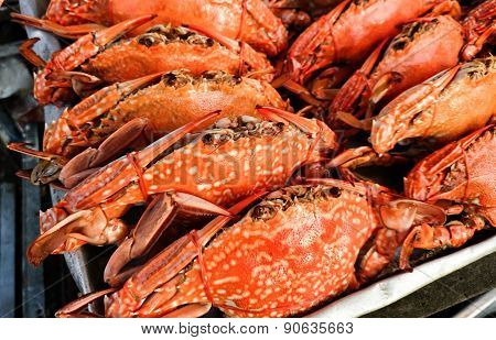Steamed crabs in a fish market