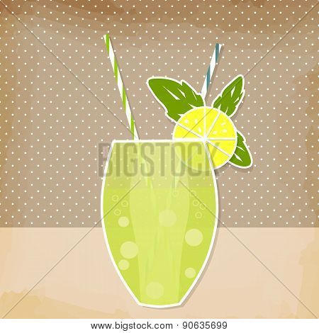 Cocktail Lemon Lime Background. Glass Of Drink With Tubule. Retro Lemonade