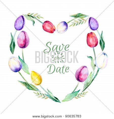 Vector heart made of watercolor tulips flowers