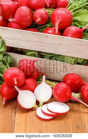 Macro Of Fresh Sliced Radish In Crate