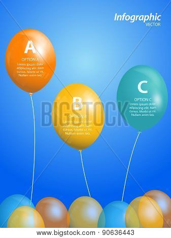 Balloon Info graphic On Blue Background