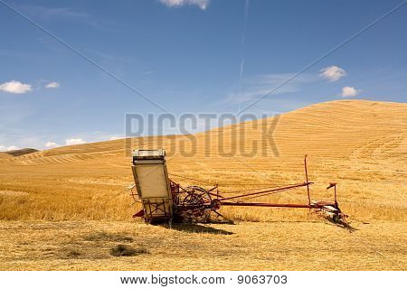 Swather machine in a field.