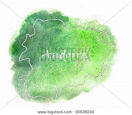 Andorra Vector Watercolor Map Illustration