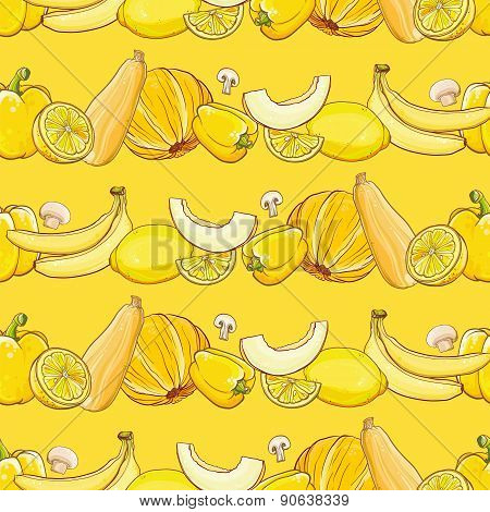 Set Of Yellow Fruits And Vegetables On Light Yellow Seamless Vector Background