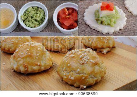 Bun  Sesame Seeds Stuffed Avocado , Cheese And Tomato