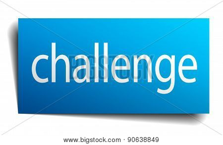 Challenge Blue Paper Sign On White Background