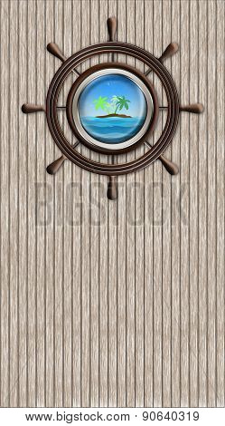 Abstract Wheel And Window Overlooking The Palm-tree Island And Sea