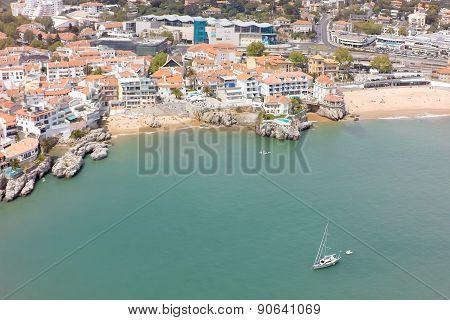 Aerial View Of Cascais Coastline Near Lisbon In Portugal