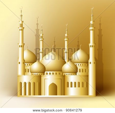 3d Realistic Golden Detailed Mosque or Masjid