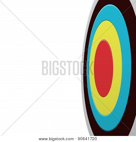 Colour Round Darts Target Aim Isolated On White Background. View From One Side. Success Business Con