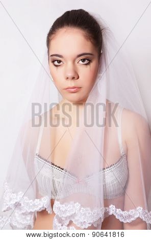 Portrait Of A Beautiful Bride Crying
