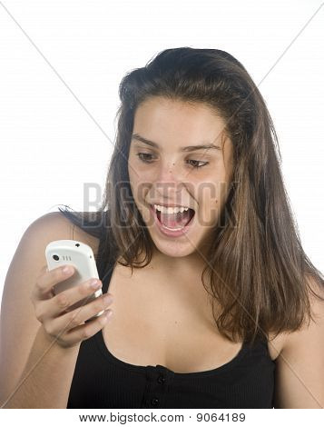 Young Girl With Phone Looking At Mobile Phone