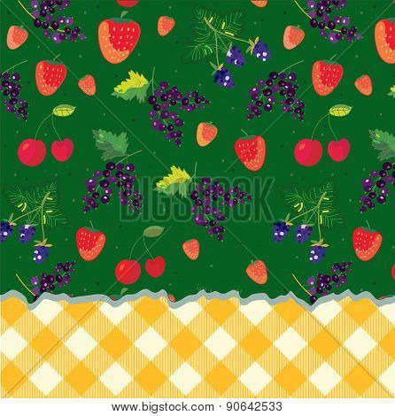 Menu Template With Berries And Plaid Pattern