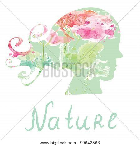 Nature Spa Card  With Girl Head Silhouette